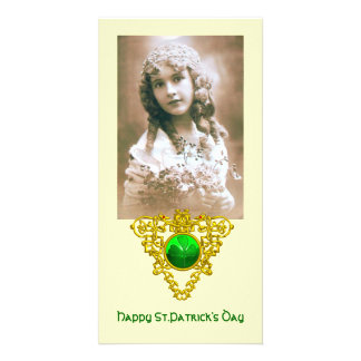 SAINT PATRICK'S CELTIC HEART,shamrock,cream Photo Greeting Card