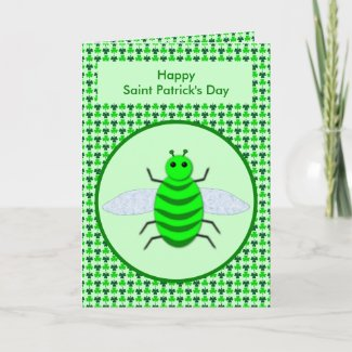 Saint Patricks Day Bee and Shamrocks Card
