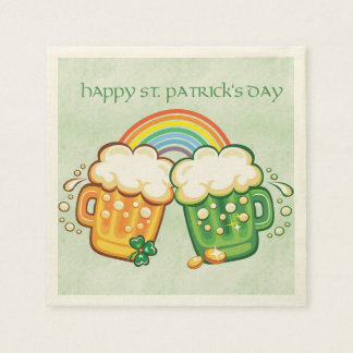Saint Patrick's Day, Beer Mugs Disposable Serviette