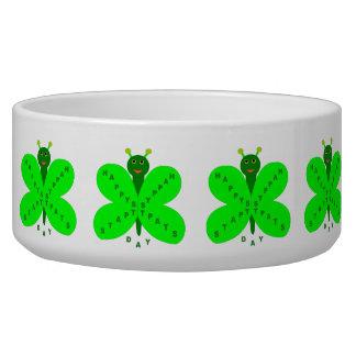 Saint Patricks Day Butterfly Dog Bowl