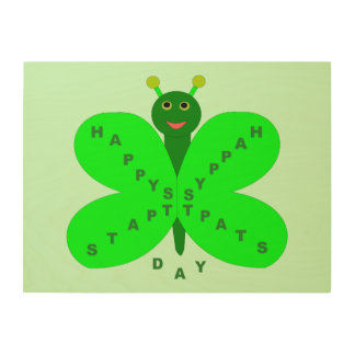 Saint Patrick's Day Butterfly Wood Canvas