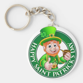 Saint Patricks Day Cartoon Leprechaun Sign Basic Round Button Key Ring