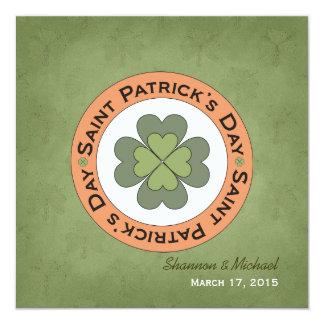 Saint Patrick's Day Clover Stamp Wedding 13 Cm X 13 Cm Square Invitation Card