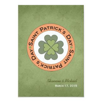 Saint Patrick's Day Clover Stamp Wedding 13 Cm X 18 Cm Invitation Card