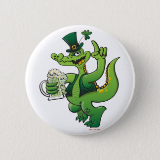 Saint Patrick's Day Crocodile Drinking Beer 6 Cm Round Badge