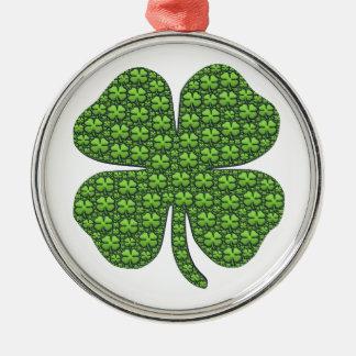 Saint Patricks Day Four Leaf Clover Good Luck Christmas Ornament