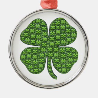 Saint Patricks Day Four Leaf Clover Good Luck Silver-Colored Round Decoration