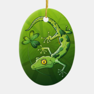Saint Patrick's Day Gecko Christmas Ornament