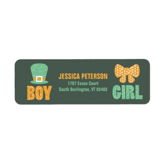 Saint Patrick's Day Gender Reveal Address Labels