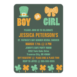 Saint Patrick's Day Gender Reveal Invitations