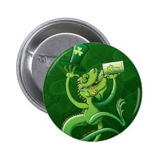 Saint Patrick's Day Iguana Pinback Button