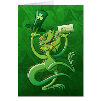 Saint Patrick's Day Iguana Greeting Card