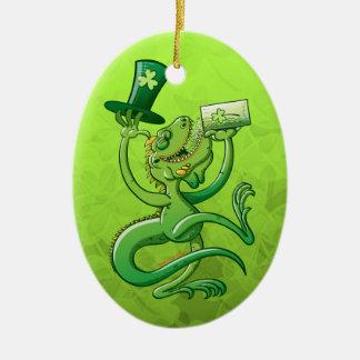 Saint Patrick's Day Iguana Ceramic Oval Decoration