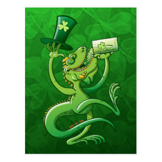 Saint Patrick's Day Iguana Postcard