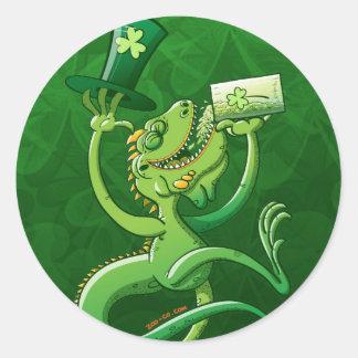 Saint Patrick's Day Iguana Round Sticker