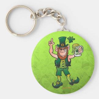 Saint Patrick's Day Leprechaun Drinking Beer Basic Round Button Key Ring