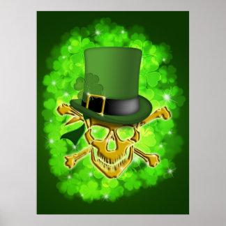 Saint Patricks Day Leprechaun Hat and Skull Poster