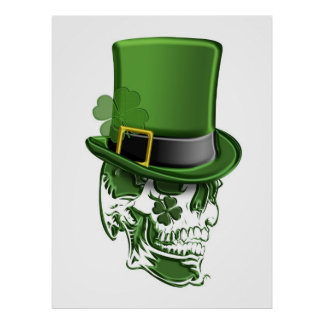 Saint Patricks Day Leprechaun Hat and Skull Poster
