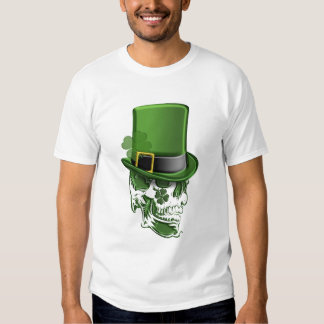 Saint Patricks Day Leprechaun Hat and Skull T-Shir T-shirt