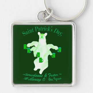 Saint Patrick's Day Leprechauns and Fester Equals Key Ring