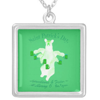 Saint Patrick's Day Leprechauns and Fester Equals Square Pendant Necklace