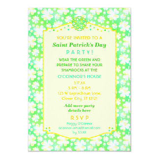 Saint Patrick's Day Party Elegant Retro Shamrocks 13 Cm X 18 Cm Invitation Card