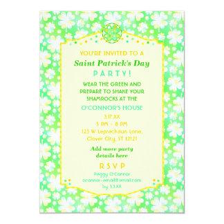 Saint Patrick's Day Party Elegant Retro Shamrocks Card