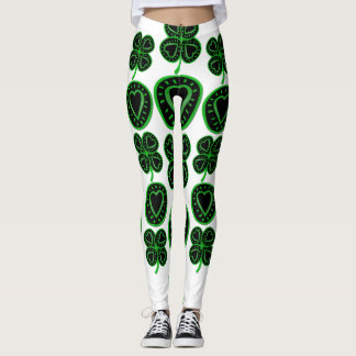 Saint Patrick's Day Shamrock Heart Leggings 4