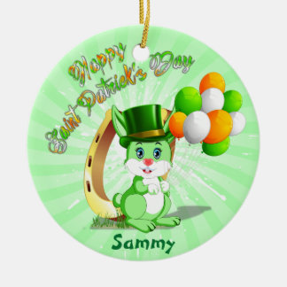 Saint Patrick's Green Bunny Cartoon Christmas Ornament