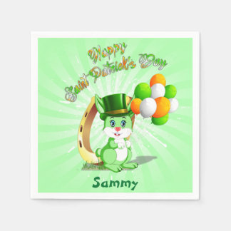 Saint Patrick's Green Bunny Cartoon Disposable Serviette