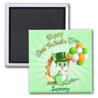 Saint Patrick's Green Bunny Cartoon Magnet