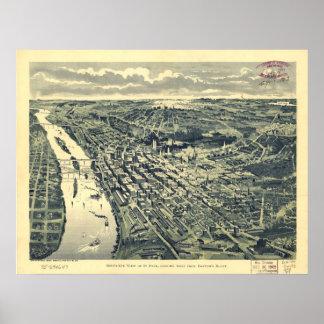 Saint Paul Minnesota 1893 Antique Panoramic Map Poster