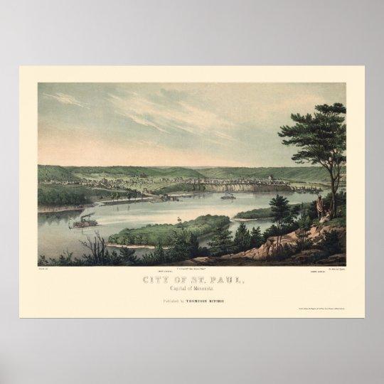 Saint Paul, MN Panoramic Map - 1853 Poster