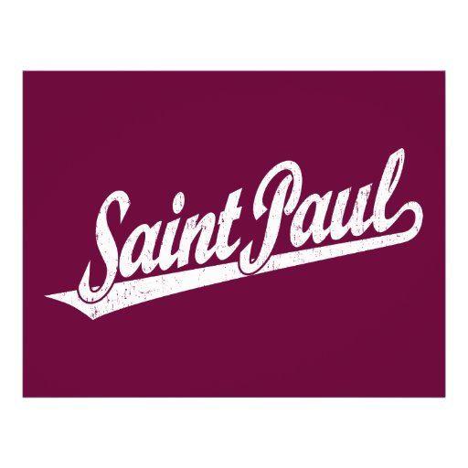 Saint Paul script logo in white distressed Personalized Flyer