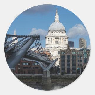 Saint Paul's Cathedral and Millennium Bridge Classic Round Sticker