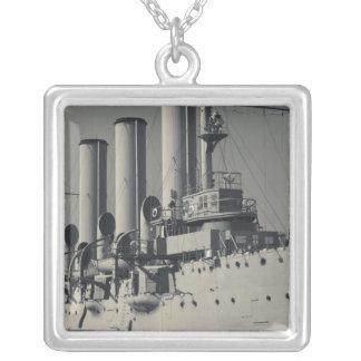 Saint Petersburg, Cruiser Aurora 2 Silver Plated Necklace