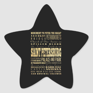 Saint Petersburg of Russia Typography Art Sticker