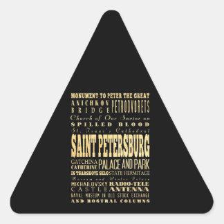 Saint Petersburg of Russia Typography Art Triangle Sticker
