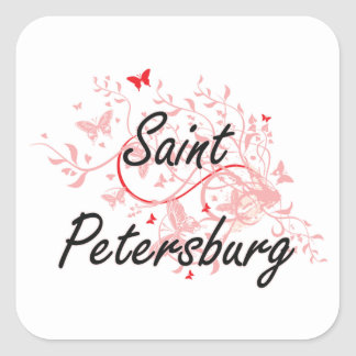 Saint Petersburg Russia City Artistic design with Square Sticker