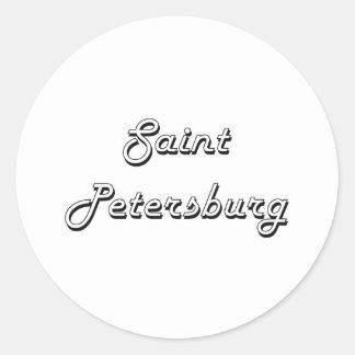 Saint Petersburg Russia Classic Retro Design Round Sticker