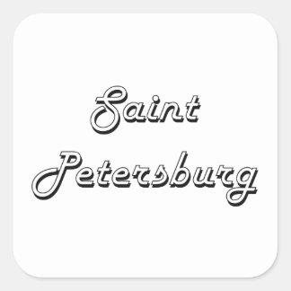 Saint Petersburg Russia Classic Retro Design Square Sticker