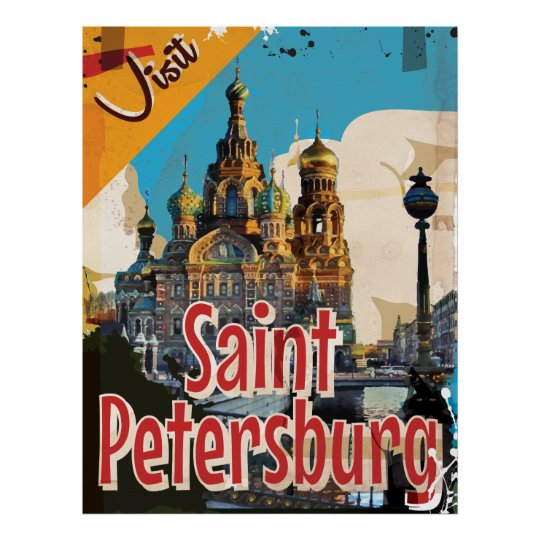 Saint Petersburg, Russia Vintage Travel Poster