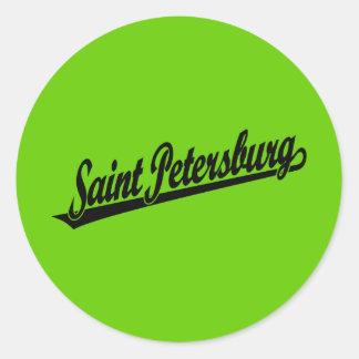Saint Petersburg script logo in black Round Stickers