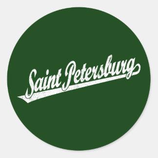 Saint Petersburg script logo in white distressed Sticker