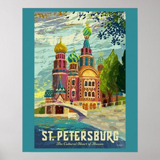 Saint Petersburg Vintage Travel Poster