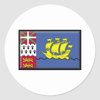 Saint Pierre and Miquelon Flag Classic Round Sticker