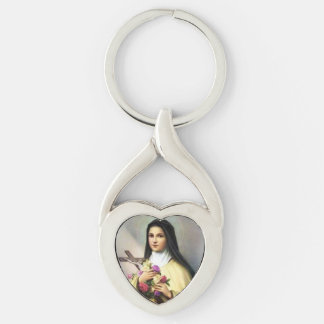 Saint Therese the Little Flower Heart Keychain