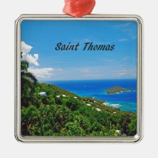 Saint Thomas U.S.V.I. Silver-Colored Square Decoration