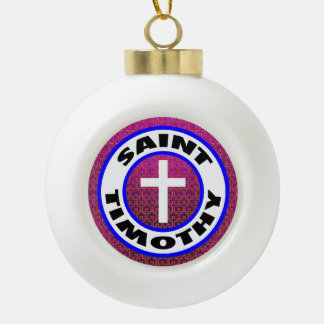 Saint Timothy Ceramic Ball Christmas Ornament