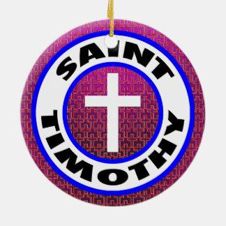 Saint Timothy Round Ceramic Decoration